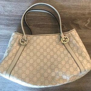 Gucci Guccissima White Leather Small Tote Bag